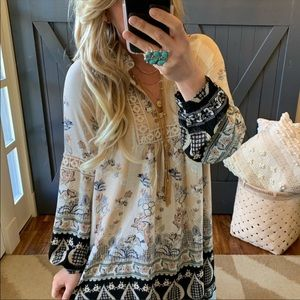 Bohemian Long Sleeve Floral Print Dress